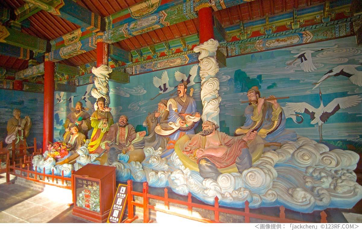 山東省蓬莱市にある八仙の像