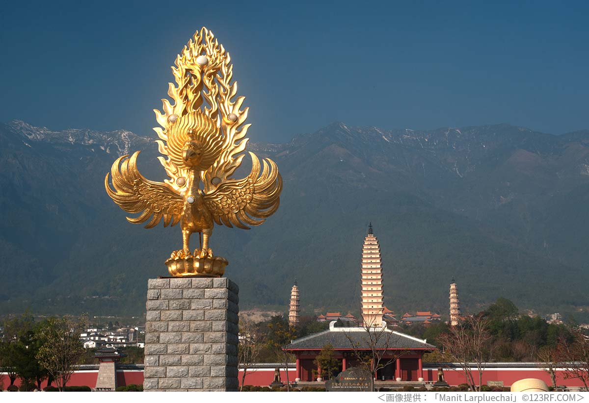 雲南省大理にある鳳凰の像