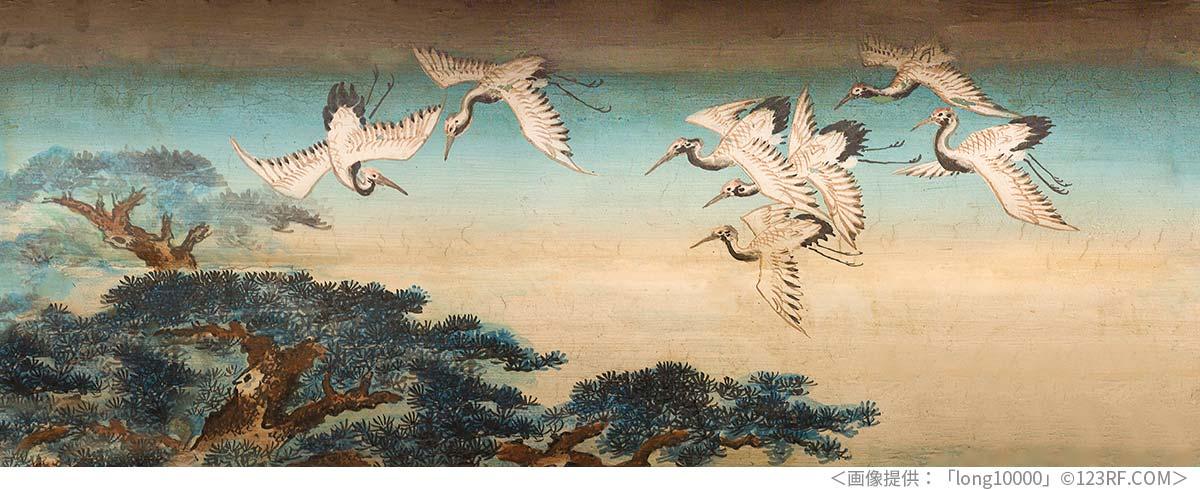 頤和園の廊下にある鶴の絵