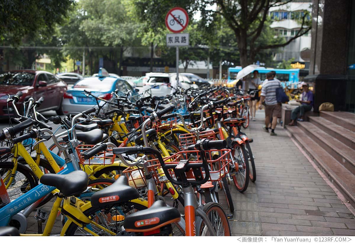 駐車禁止の場所に停められたシェア自転車