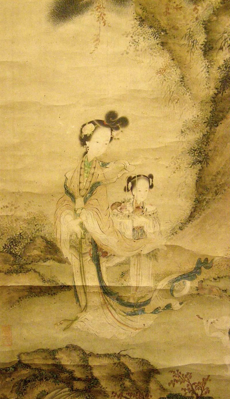 西王母と桃を手にした麻姑